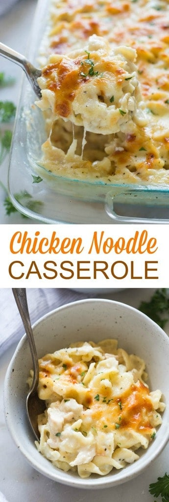 Comforting chicken noodle casserole with a simple homemade white sauce, cheese, chicken and egg noodles. My family loves this easy recipe!  #chicken #noodles #familyfriendly #dinner