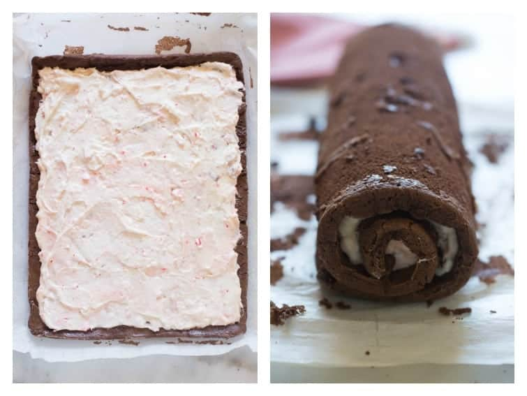 Side by side photos of a chocolate cake roll making process with the first showing the frosting smoothed over the cake and the next showing the cake rolled up.
