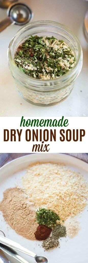 An easy recipe substitute for one envelope of dry onion soup mix. This easy recipe uses simple ingredients from your pantry! #easy #seasoning #spices #dryonionsoup