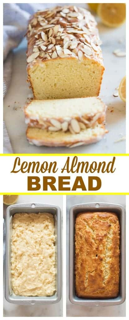 Lemon Almond Bread is a delicious and easy quick bread with hints of lemon and almond flavor, topped with a sweet glaze and sliced almonds. | tastesbetterfromscratch.com #easy #lemon #almond #bread