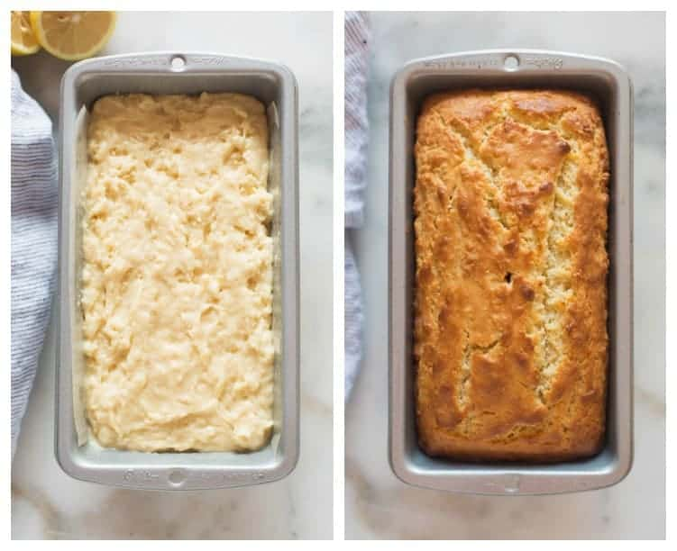 Side by side photos with the first overhead view of a bread pan filled with batter for lemon almond bread, and the next shows the bread after it has been baked.