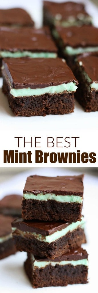 These soft, fudgy, homemade mint brownies are the perfect treat for parties and get togethers--Warning, they'll be gone in seconds!  | tastesbetterfromscratch.com #brownies #chocolate #mintbrownies #dessert