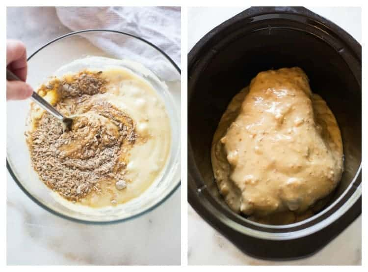 Side by side photos of a bowl filled with a mixture of cream of chicken soup and dry onion soup mix, and a slow cooker with beef roast smothered in the sauce.