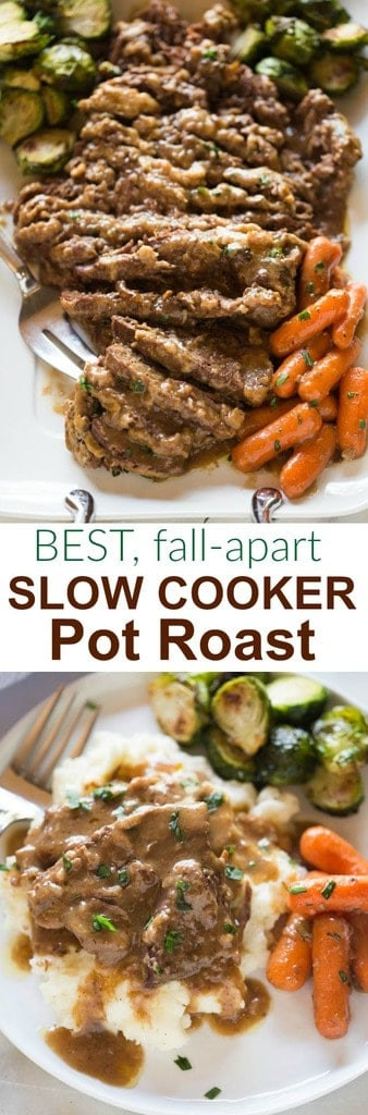 The most tender, flavorful Crock Pot Roast, cooked in a delicious gravy, with tender vegetables. This is an all-in-one meal that can't be beat! #slowcooker #dinner #roast #familyfriendly #easy #tastesbetterfromscratch