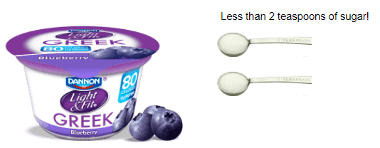 A cup of blueberry greek yogurt and two teaspoons.