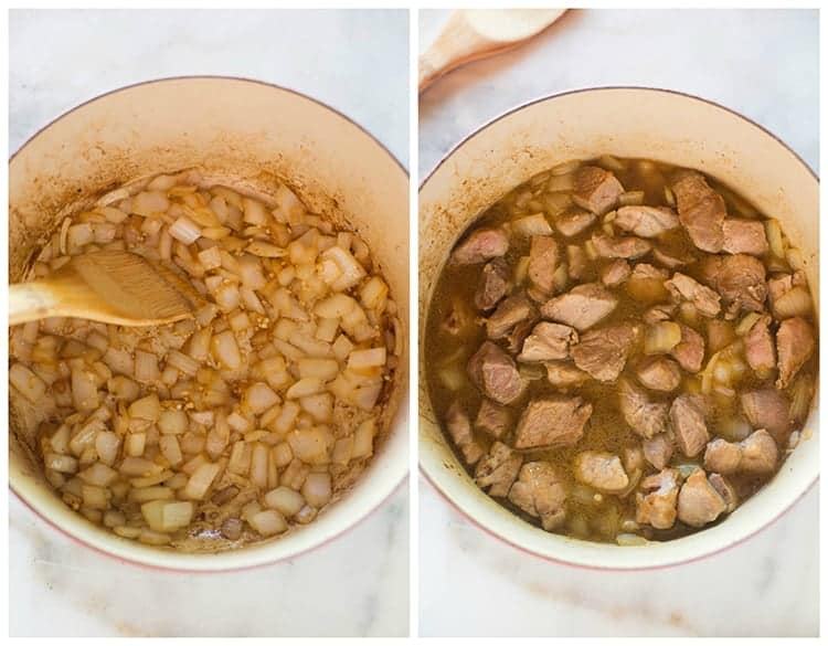 Side by side photos of a pot with browned onions, and then pork, spices, and chicken broth added to the pot.
