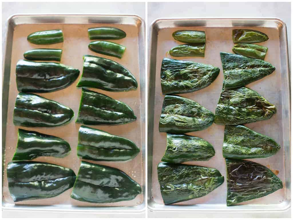 Side by side photos of a large pan with halved poblano peppers on it, and another pan with the poblano peppers after they have been broiled in the oven.
