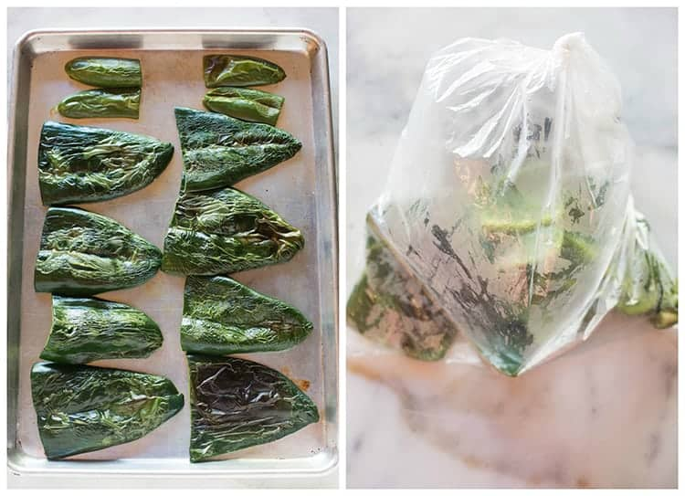 Side by side photos of pan of broiled poblano peppers, and a plastic bag with the peppers steaming inside.