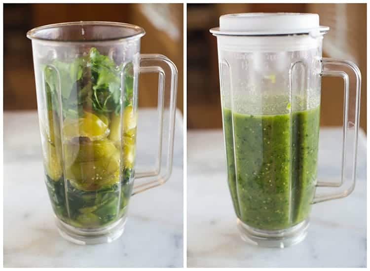 Side by side photos of a blender full of the ingredients for salsa verde including tomatillos, jalapenos, poblano peppers and cilantro, and the same blender after the sauce has been pureed.