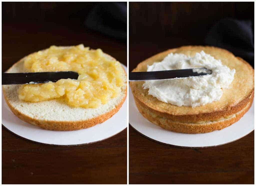 Side by side process photos of a layer of coconut cake with pineapple filling spread over the top, and then topped with another cake layer, and coconut frosting spread over the top.