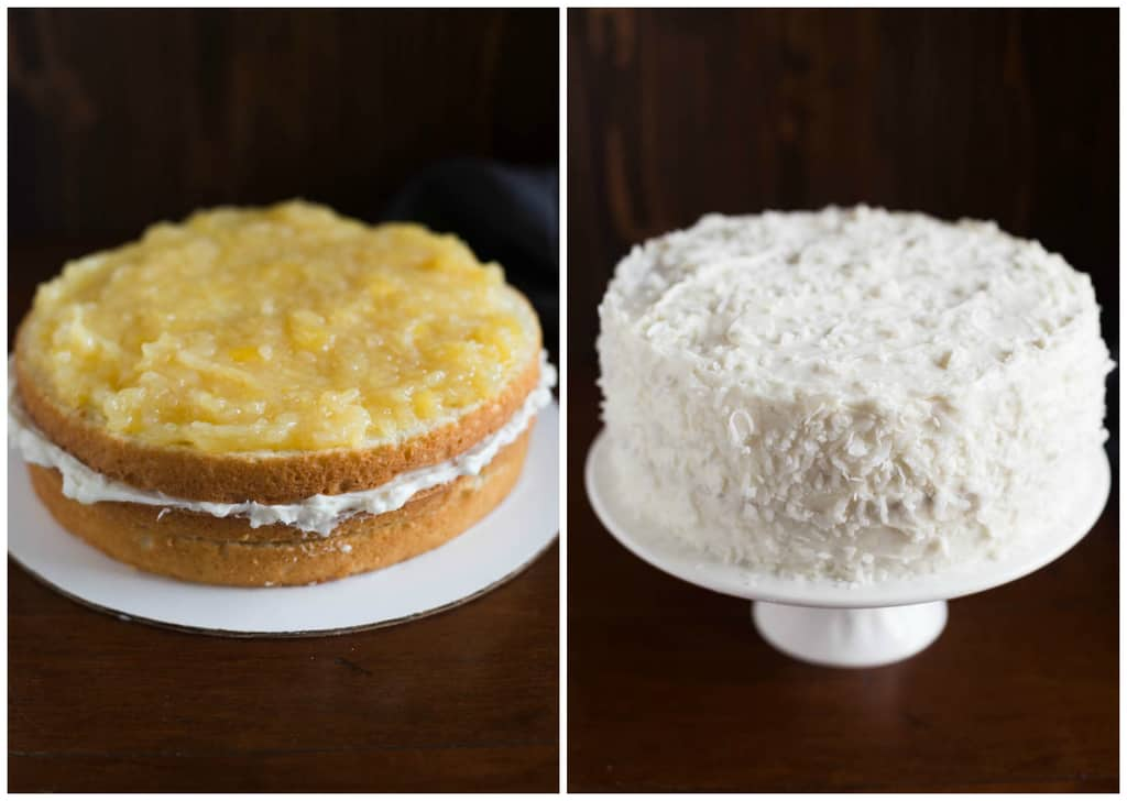Process photos for filling a coconut cake with layers of pineapple filling and coconut frosting.