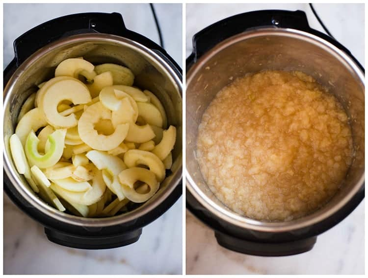 Process photos for making instant pot applesauce, from sliced apples in an instant pot bowl to the final product of mashed applesauce.