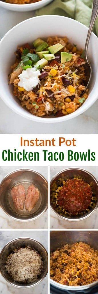 This all in one dinner has quickly become a family favorite! Instant Pot Chicken Taco Bowls all cooked together in one pot with rice, black beans, corn, salsa, chicken and seasonings. #instantpot #chicken #onepot #easy
