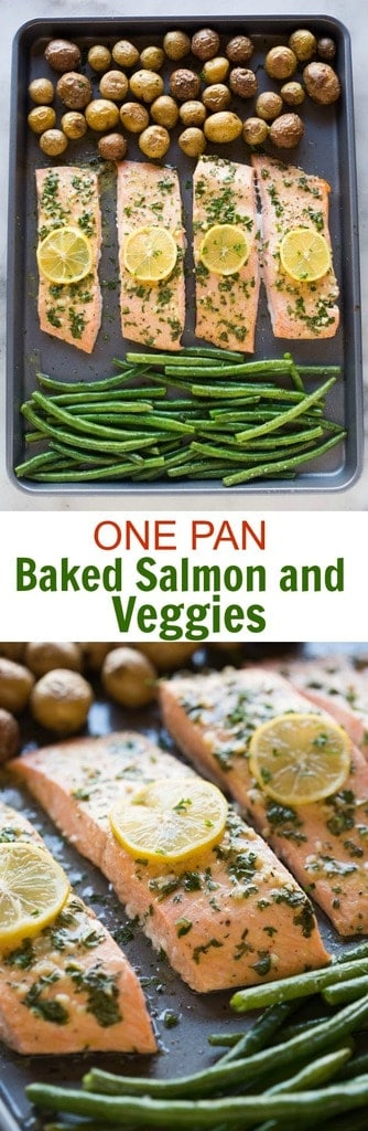 This DELICIOUS one pan baked salmon and vegetables dinner will have you feeling like you're eating at a restaurant. Perfectly cooked salmon with a lemon dijon sauce, tender roasted potatoes and crisp green beans. #onepan #sheetpan #salmon #dinner #easy