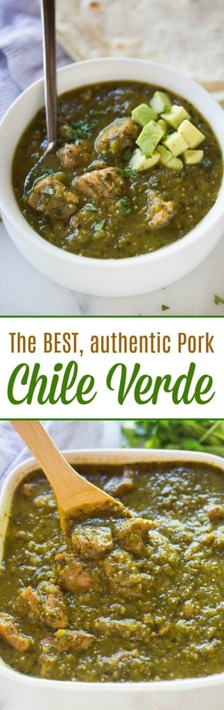 This authentic pork chile verde recipe will rival any you find in a Mexican restaurant! Tender pieces of pork slow cooked with a fantastic homemade green chile sauce (salsa verde). Serve this delicious stew alongside warm tortillas, rice and beans. #Mexican #pork #chileverde #stew #dinner