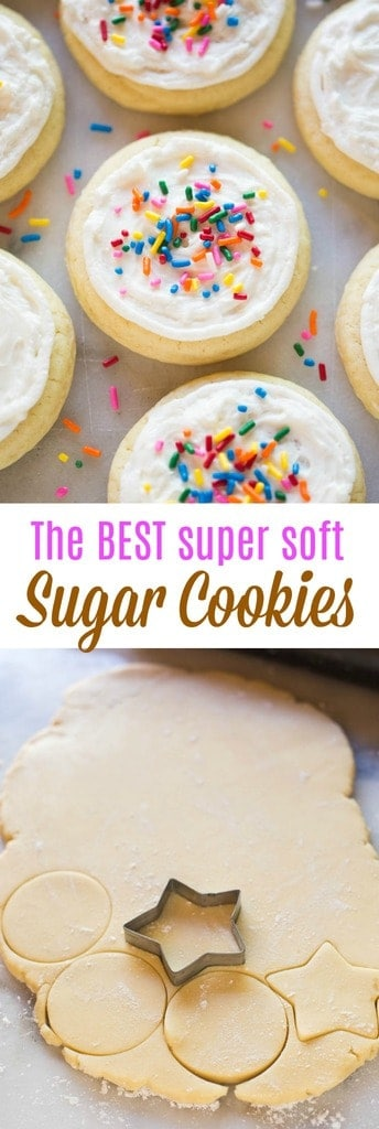 These no-fail, soft and chewy sugar cookies are one of my favorites. Top them with cream cheese frosting or buttercream frosting. #cookies #sugarcookies #easy #dessert