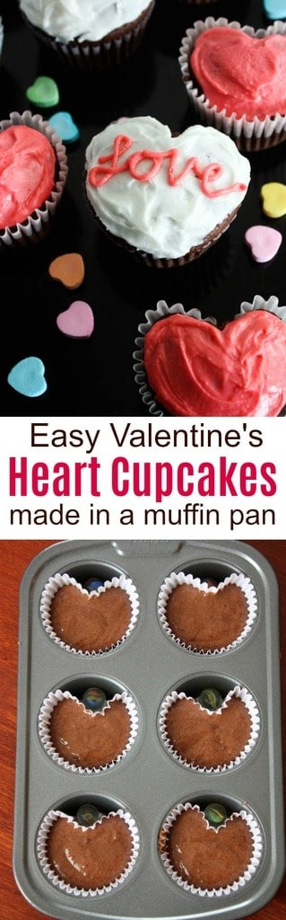 Valentine Heart Cupcakes are made using a standard muffin pan and a small marble. Your kids will love making and decorating this simple, fun Valentine's Day treat!  | tastesbetterfromscratch.com