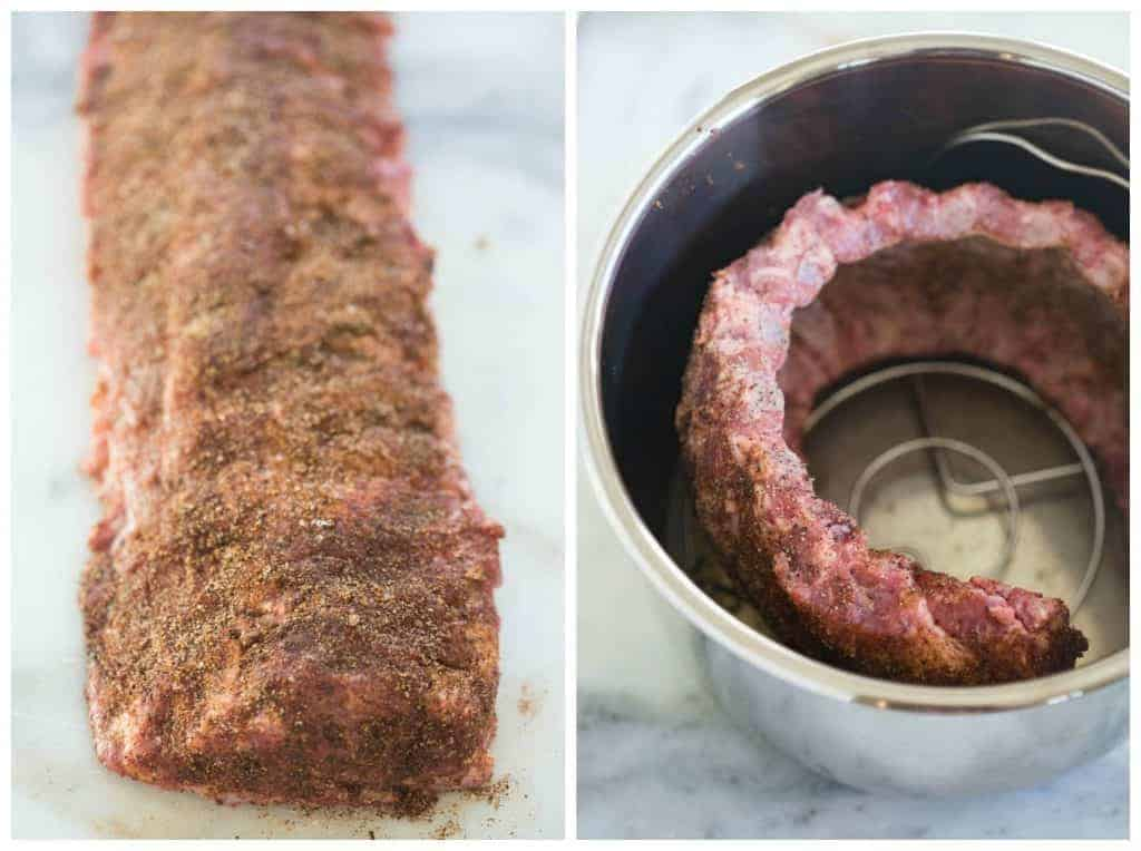 Ribs seasoned with a dry rub and then curled around the inner pot of an instant pot pressure cooker.
