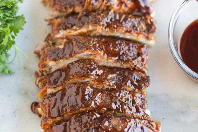 Tender BBQ pork ribs cooked in the instant pot in just 30 minutes!