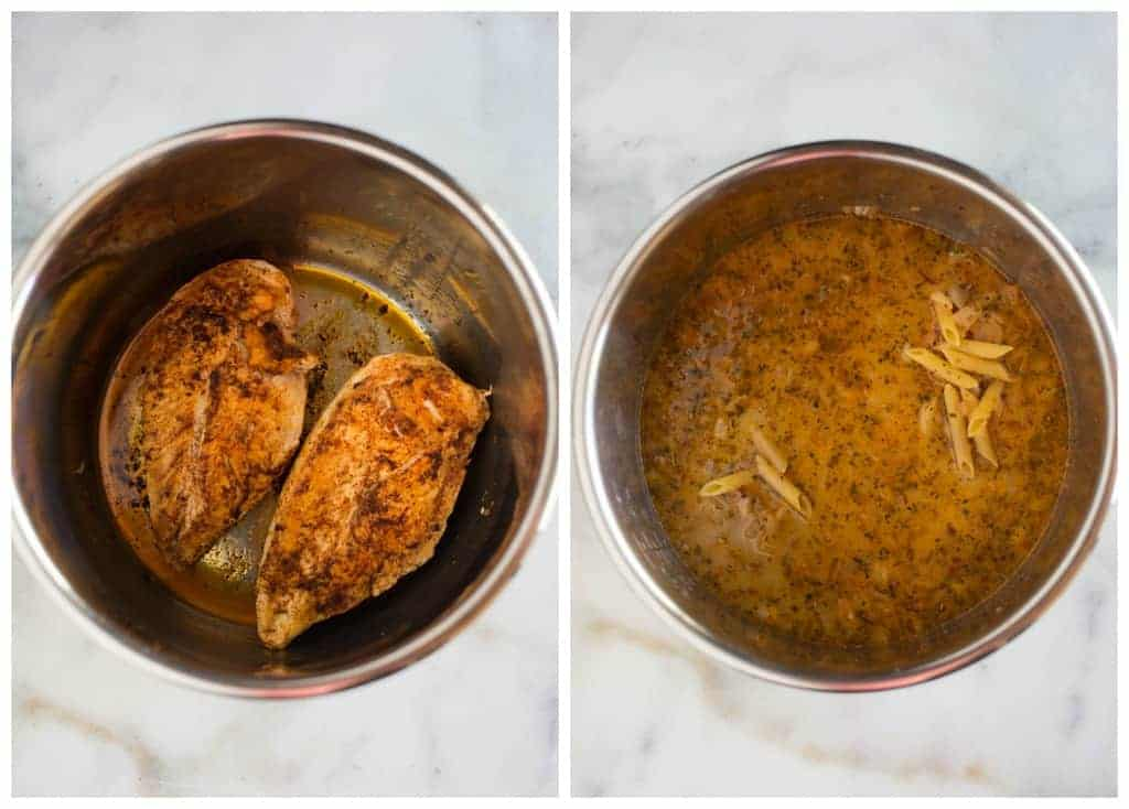Process photos for instant pot tuscan chicken pasta, that starts with browning the chicken in the instant pot and ten added broth and pasta.