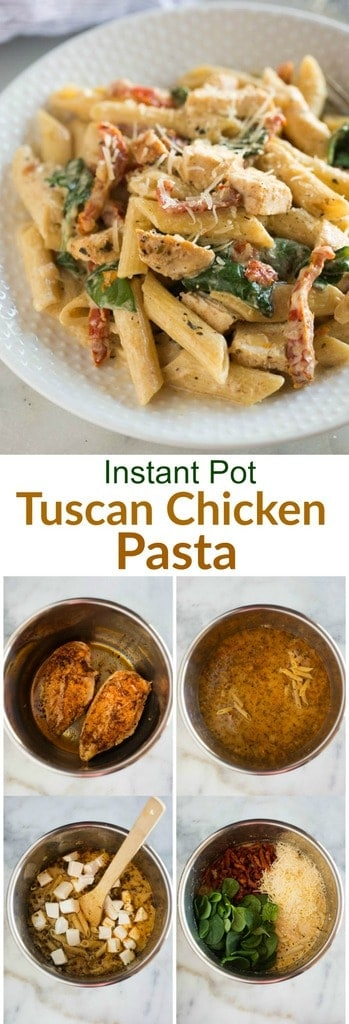 Instant Pot Tuscan Chicken Pasta with a creamy garlic sauce, sun-dried tomatoes, spinach, and chicken. My family quickly fell in love with this yummy, easy pressure cooker meal. #instantpot #pressurecooker #pasta #onepan #chicken #easy