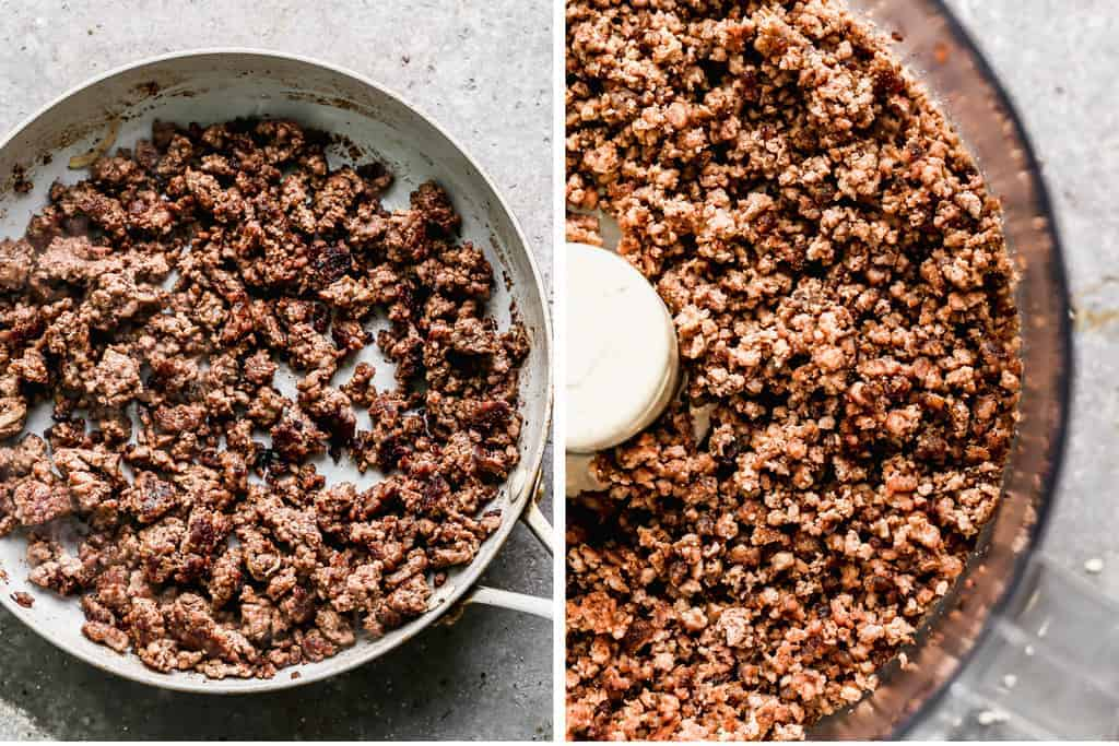 Ground beef browned in a skillet next to a food process with crumbled ground beef.