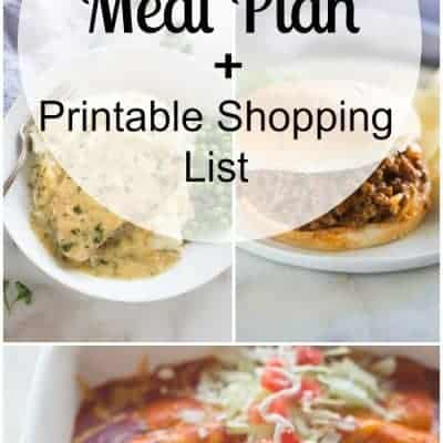 Week 38 Meal Plan and Printable Shopping List