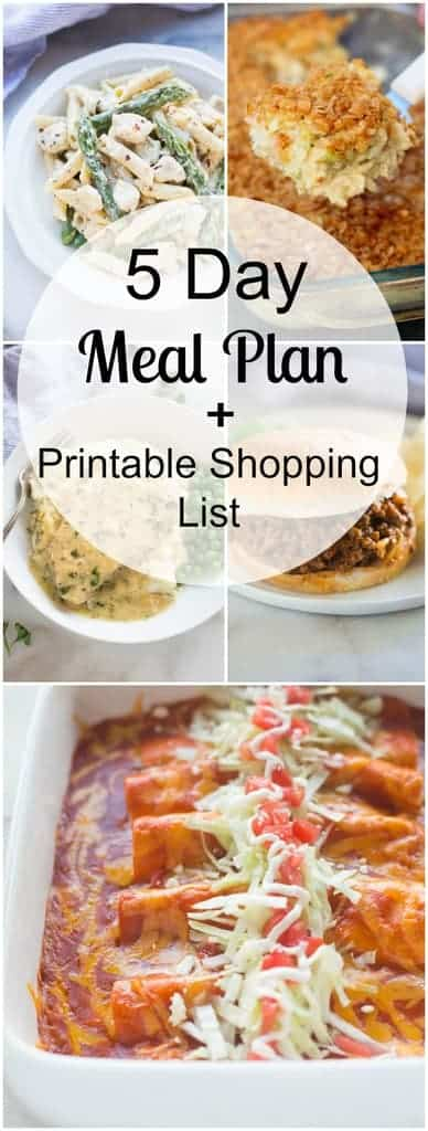 A 5-day meal plan with easy and family friendly dinners as well as a free printable shopping list. | tastesbetterfromscratch.com