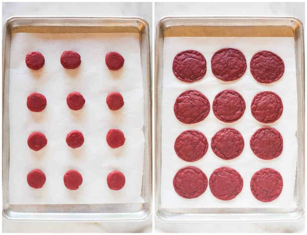 An overhead photo of a cookie sheet with red velvet cookie dough that's ready to bake, next to another photo of a cookie sheet with the baked red velvet cookies.