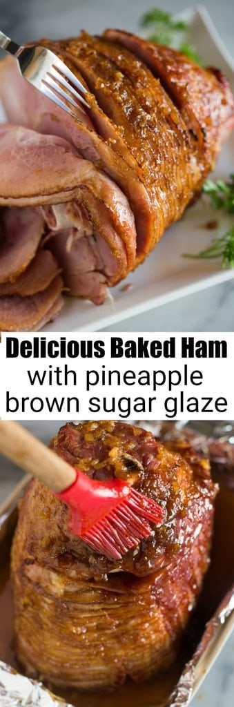 Nothing is easier or more delicious than a beautiful, caramelized Baked Ham with Pineapple Brown Sugar Glaze. The perfect meal for a simple Sunday dinner, to feed a crowd, or for holiday entertaining like Easter and Christmas. #ham #easy #bakedham #kidfriendly