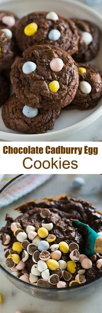 Thick and chewy Chocolate Cadbury Egg Cookies make the perfect fun and easy Easter treat. #cookies #chocolate #easter #dessert
