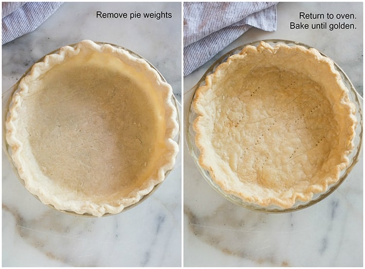 Pie crust after it has been baked with pie weights, and then the pie weights are removed and the crust is baked again until golden brown.