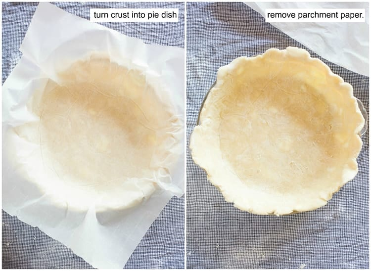 Parchment paper is used to invert a pie crust into a pie plate and then the parchment paper is peeled away, leaving a perfect pie crust dough inside a pie dish.