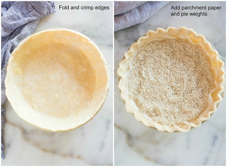 Process photos for blind-baking a pie crust including adding parchment paper and dry rice to the bottom of a crust.