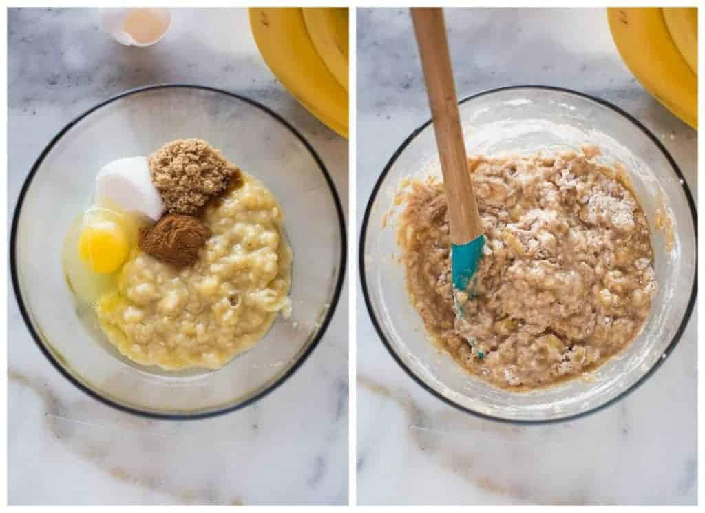 Mixing bowls with the ingredients to make healthy banana bread muffins.