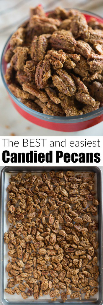 Delicious Candied Pecans are great for topping on salads, desserts, giving as holiday gifts, or just for a sweet treat to snack on.  This easy candied pecans recipe can be made on the stovetop or baked in the oven. #nuts #candied #pecans #carmelized #easy #christmas #salad #oven #gift #snack