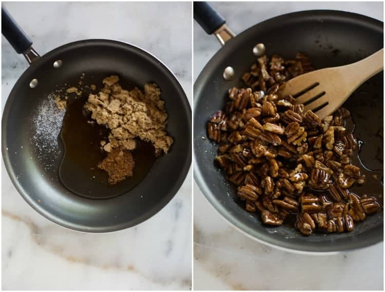Two side by side images showing the process for making candied pecans on the stove top, including cooking brown sugar, cinnamon and water until bubbly and then adding the pecans.