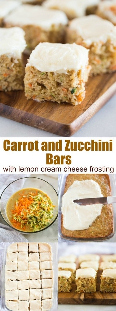 Carrot and Zucchini Bars with Lemon Cream Cheese Frosting are moist, perfectly sweet, and one of my favorite snack cakes. They are DELICIOUS and a great way to sneak vegetables into a yummy treat!#cake #bars #creamcheesefrosting #zucchini #carrot #dessert #easy