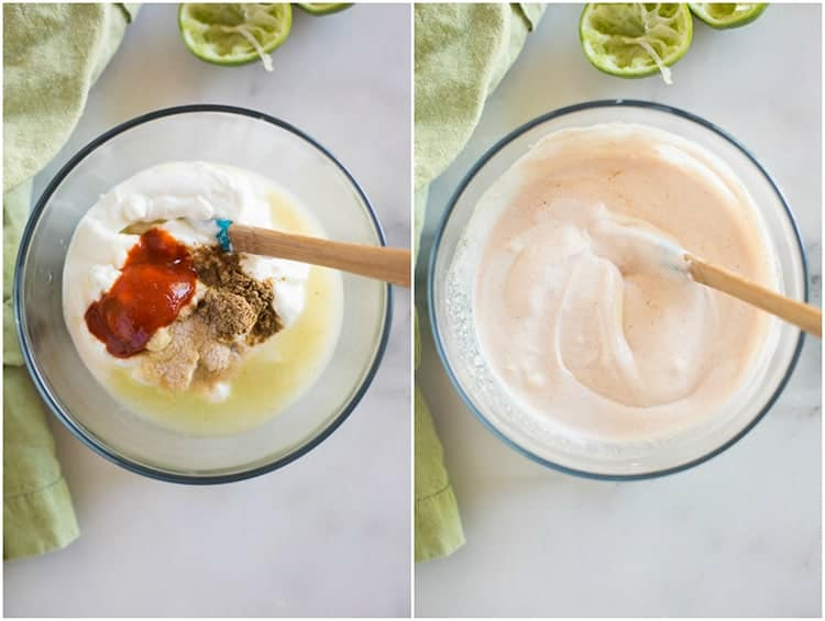 Ingredients for a white crema sauce in a mixing bowl next to a photo of the ingredients mixed together until smooth.