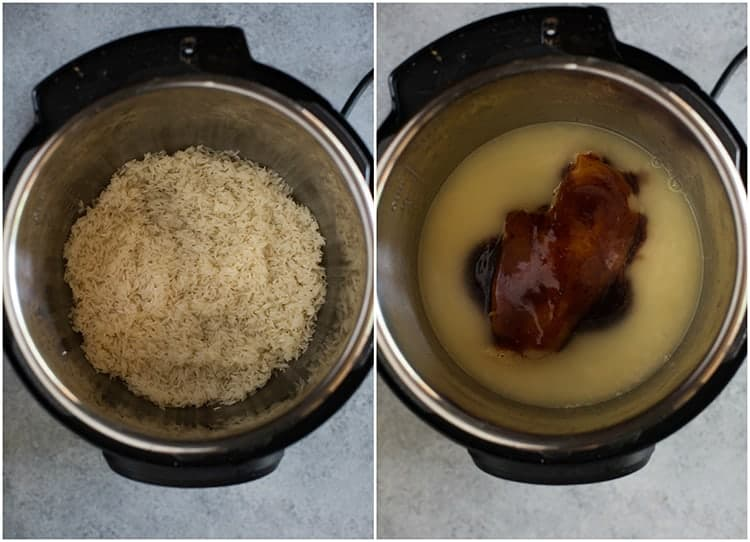 An instant pot with rice at the bottom of the pot next to another photo of the instant pot with chicken broth, chicken breast and teriyaki sauce added on top of the rice.