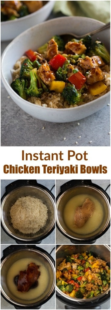 Instant Pot Chicken Teriyaki Bowls with fresh vegetables and teriyaki sauce are an all-in-one dinner that is ready in minutes! | tastesbetterfromscratch.com  #instantpot #chicken #healthy #rice #teriyaki #stirfry #kidfriendly #dinner #easy