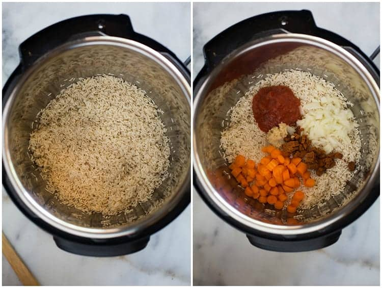 Process photos for making authentic mexican rice in the instant pot, including add the rice and toasting it and then adding tomato sauce, tomato bullion cubes, onion, garlic and carrots.