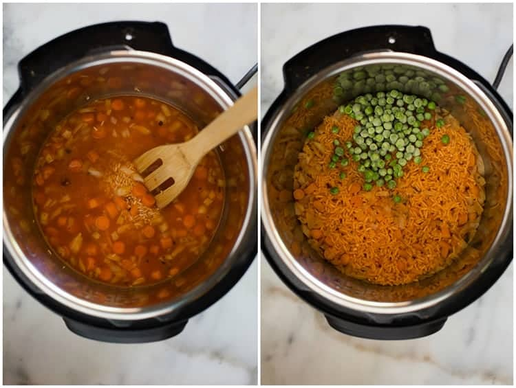 Ingredients for Mexican rice inside an instant pot with a wooden spoon, and another photo of an instant pot with the cooked rice and frozen peas added on top.