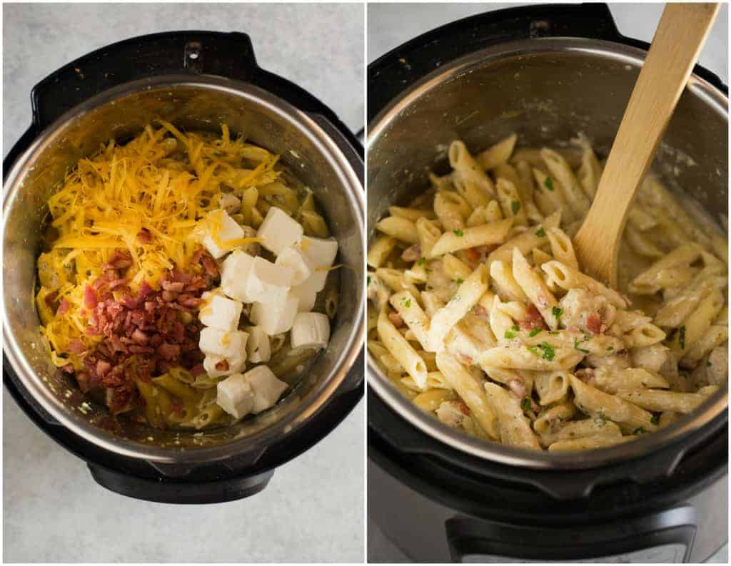 Overhead photo of an instant pot with a creamy pasta, shredded cheese, bacon and cubes of cream cheese, and another photo with the mixture stirred together to make a creamy ranch chicken pasta.