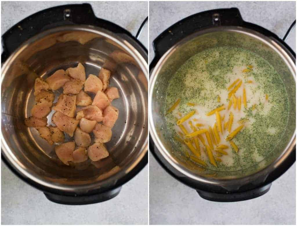 Overhead photos of two instant pots with chicken pieces in the bottom of one and chicken broth, milk, seasonings and dry penne noodles added to the other instant pot.