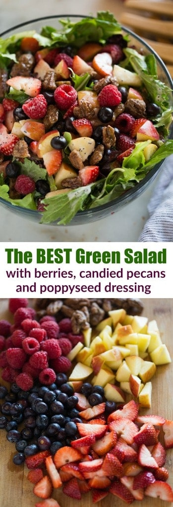 This Mixed Green Salad with Berries is to DIE for! A bed of mixed green lettuce topped with strawberries, blueberries, raspberries, candied pecans, feta cheese and a creamy poppyseed dressing. #salad #candiedpecans #poppyseeddressing #berries #easy #healthy #fruit #spinach #summer #spring #dressing