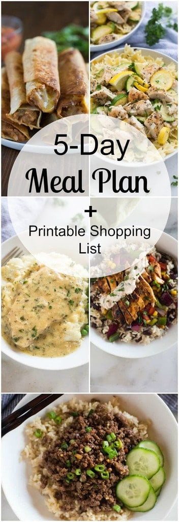 """A 5-day meal plan with easy and family friendly dinners as well as a free printable shopping list so that you always have an answer for that nagging question, """"What's for dinner?!"""" 