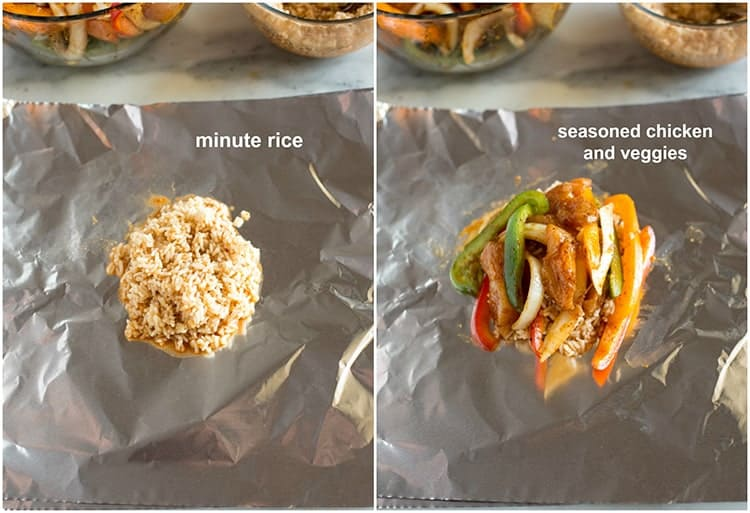 Minute rice on a piece of tinfoil, and another photo of the rice topped with seasoned chicken pieces and vegetables to make fajita foil packets.
