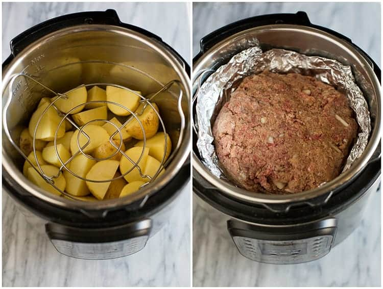 Overhead photo of an instant pot with cut yellow potatoes in the bottom and a wire trivet on top of them, next to another photo of meatloaf inside tinfoil placed on top of the trivet.
