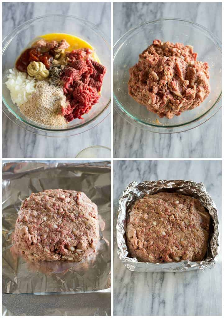 A collage of four process photos with the steps for making meatloaf including a glass bowl with all of the meatloaf ingredients, the meatloaf mixed together, the meatloaf formed into a round loaf on top of tinfoil, and the sides of the tinfoil folded up to make a nest for the meatloaf.